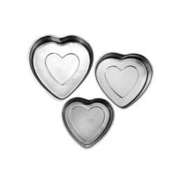 Aluminium Cake Tin Mold - Heart - Set of 3