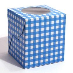 Cupcake Boxes  1 Cavity - Blue Checks  - 45 PCS