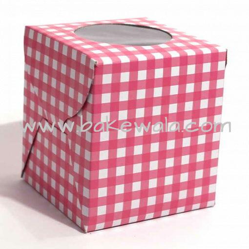 Cupcake Boxes  1 Cavity - Pink Checks  - 45 PCS