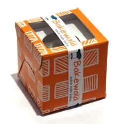 Cupcake Boxes  1 Cavity - Tangerine Boxed Stripes -  20 pcs