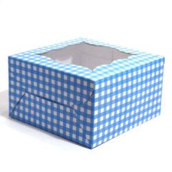 Cupcake Boxes  4 Cavities - Blue Checks - 25 PCS