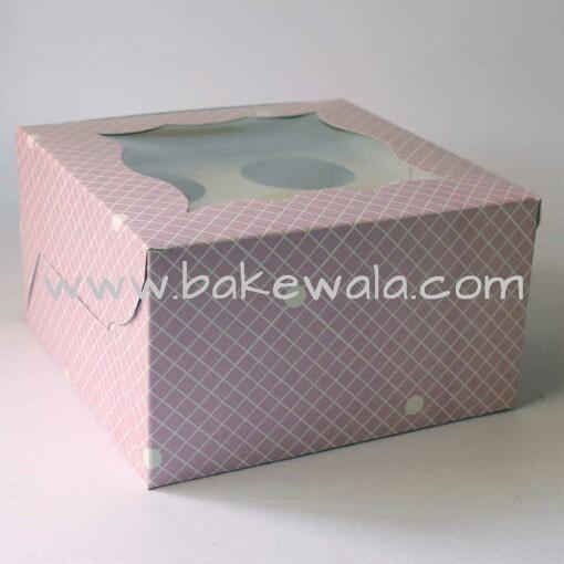 Cupcake Boxes  4 Cavities - Checks and Dots  - Pastel Lavender 25 PCS