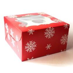 Cupcake Boxes  4 Cavities - Christmas 25 PCS