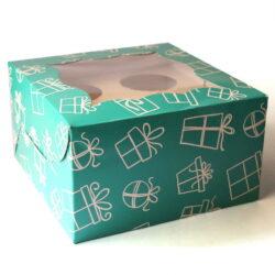Cupcake Boxes  4 Cavities - Gift Box Print  - Teal Green 25 PCS