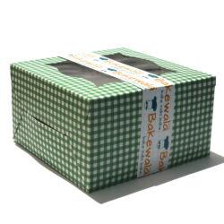 Cupcake Boxes  4 Cavities - Green Checks - 25 PCS