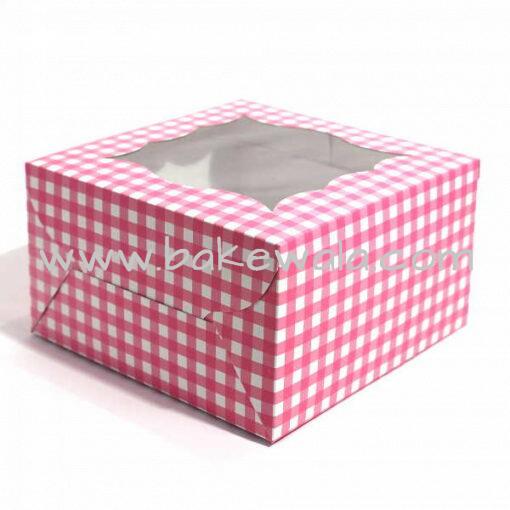 Cupcake Boxes  4 Cavities - Pink Checks - 25 PCS