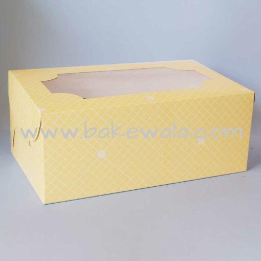 Cupcake Boxes  6 Cavities - Checks and Dots - Pastel Yellow 20 pc