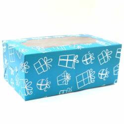 Cupcake Boxes  6 Cavities - Gift Box Print - Teal Blue 20 pc