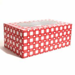 Cupcake Boxes 6 Cavities - Heart & Checks - 20 PCS