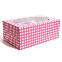 Cupcake Boxes  6 Cavities - Pink Checks - 20 PCS