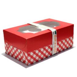 Cupcake Boxes  6 Cavities - Red n White Checkered -  20 pcs