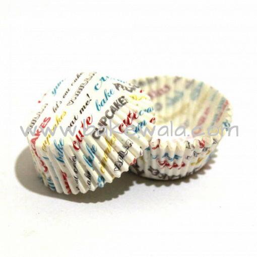 Cupcake Paper Liners - Fun Text -  11cm - 100 pcs