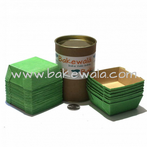 Ecopack Brownie Paper Cups - Square - Vibrant Green - 20 pcs