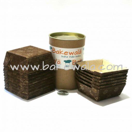 Ecopack Brownie Paper Cups - Square - Vintage Brown & Gold - 20 pcs