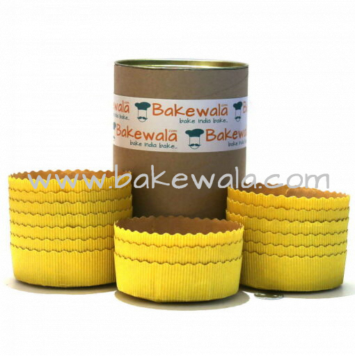 Ecopack Cake Baking Paper Moulds - Yellow - 12 Pieces