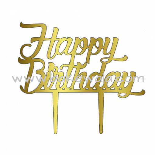 Acrylic Cake Topper or Silhouette - Happy Birthday - Design 1 - 6 Inch -  Gold
