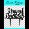 Acrylic Cake Topper or Silhouette - Happy Birthday - Design 2 - 4 Inch -  Black