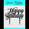 Acrylic Cake Topper or Silhouette - Happy Birthday - Design 11 - 4 Inch -  Black