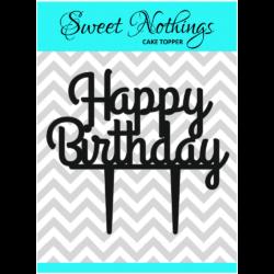 Acrylic Cake Topper or Silhouette - Happy Birthday - Design 14 - 4 Inch -  Black