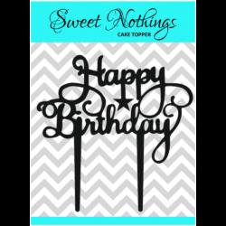 Acrylic Cake Topper or Silhouette - Happy Birthday - Design 15 - 4 Inch -  Black