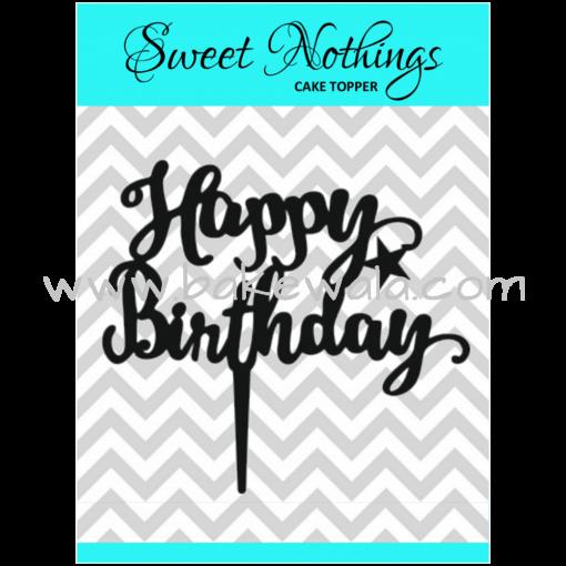Acrylic Cake Topper or Silhouette - Happy Birthday - Design 12 - 4 Inch -  Black