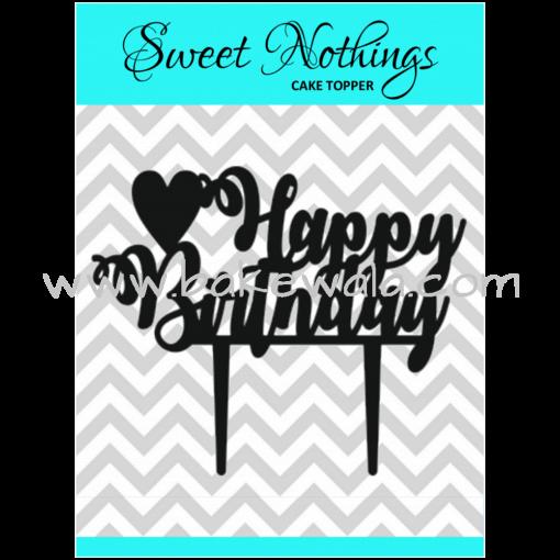 Acrylic Cake Topper or Silhouette - Happy Birthday - Design 4