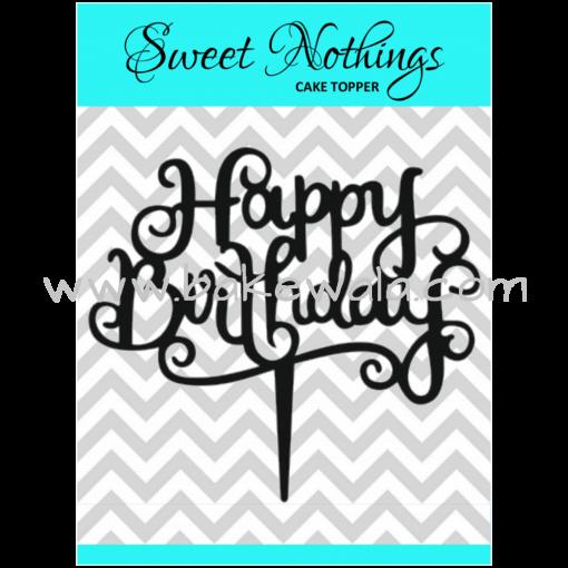 Acrylic Cake Topper or Silhouette - Happy Birthday - Design 7 - 4 Inch -  Black