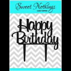 Acrylic Cake Topper or Silhouette - Happy Birthday - Design 10 - 4 Inch -  Black