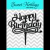 Acrylic Cake Topper or Silhouette - Happy Birthday - Design 5 - 4 Inch -  Black