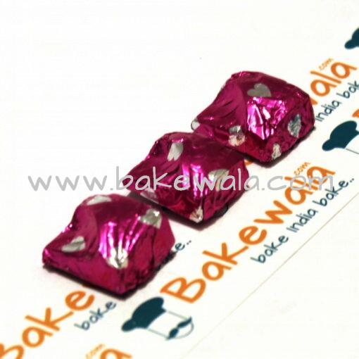 Chocolate Foil Wrapper - Heart Pattern - Pink - 300 pcs