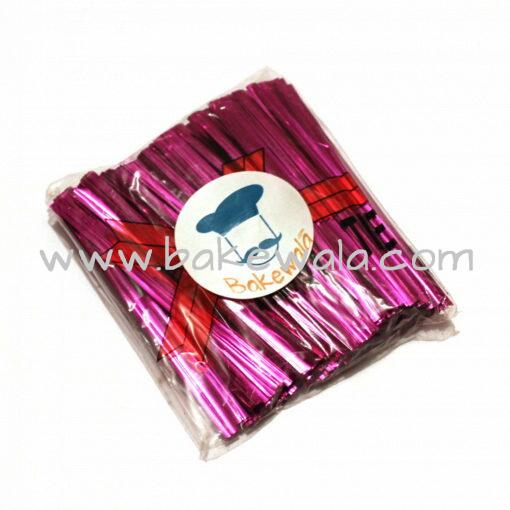 Twist Ties or Metal Collars or Twisters - Pink colour - 8 cm length