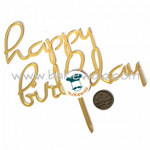 Acrylic Cake Topper or Silhouette - Happy Birthday - Gold - Type 4