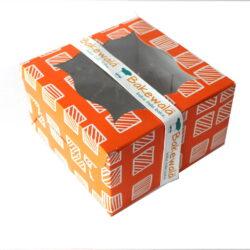 Cupcake Boxes 4 Cavities - Tangerine Boxed Stripes - 20pcs
