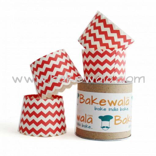Muffin Paper Cups - Red n White Chevron 13.5 cm  - 30 pcs