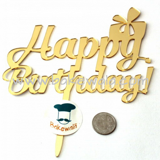 Acrylic Cake Topper or Silhouette - Happy Birthday - Gold - Type 8