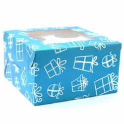 Cupcake Boxes  4 Cavities - Gift Box Print  - Teal Blue 25 PCS