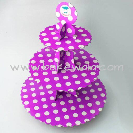 3 Tier Cardboard Cupcake stand - Purple - Large Polka Dots
