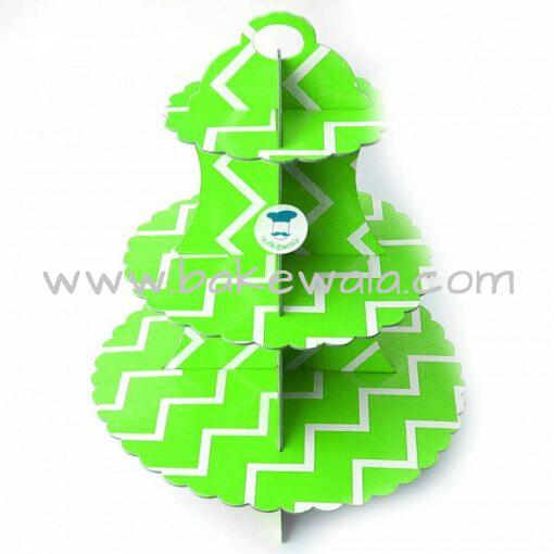 3-tier Cardboard Cupcake Stand - Green and White - Chevron