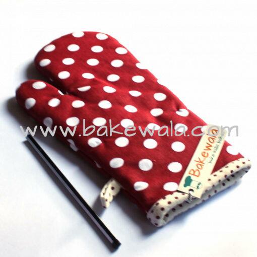 Cloth Oven Mitten or Kitchen Gloves - Red Polka - 1 pc