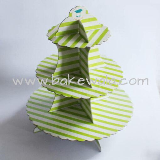 3-tier Cardboard Cupcake Stand - Green Stripes
