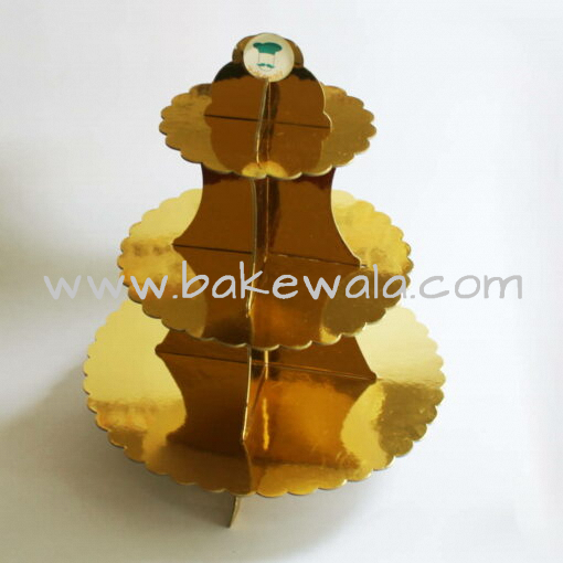 3-tier Cardboard Cupcake Stand - Gold Scalloped