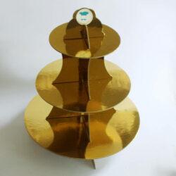 3-tier Cardboard Cupcake Stand - Gold