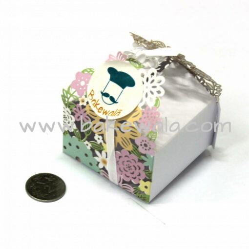 Chocolate Box - Floral Laser Cut - White -  Set of 10 pcs