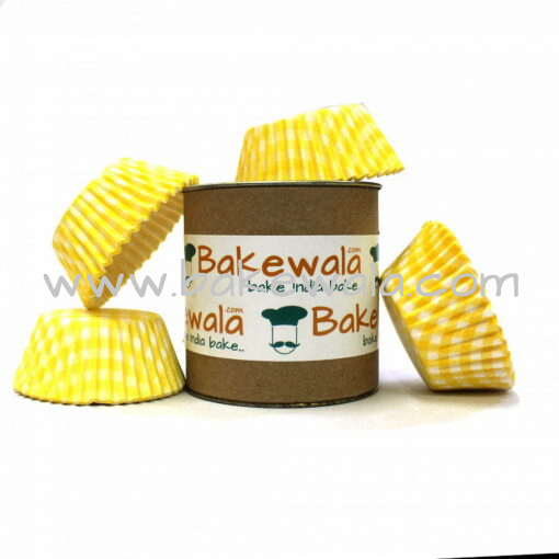 Cupcake Paper Liners - Yellow Chequered - 11cm - 100 pcs