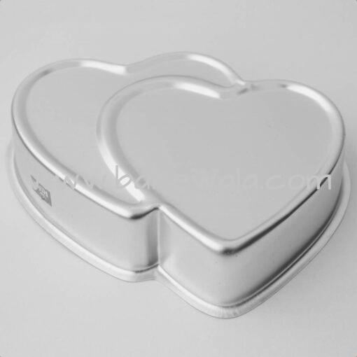 Aluminium Cake Tin Mold - Double Heart Shape - Size 1 - 16 X 23cm