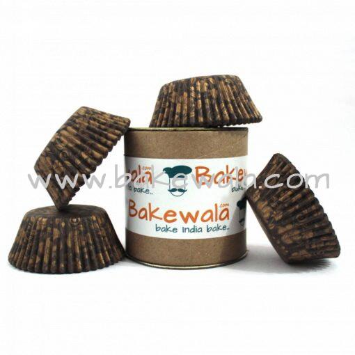 Cupcake Paper Liners - Brown n Gold - Ornate - 12cm - 100 pcs
