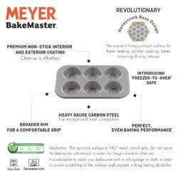 Meyer Bakemaster Non-Stick Bakeware - 6 Cup Deep Muffin Pan