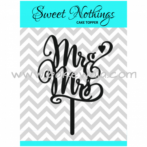 Acrylic Cake Topper or Silhouette - Mr and Mrs - Design 9 - 4 Inch -  Black