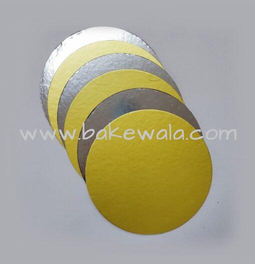 "Cake Base - Round - Dual tone - Gold & Silver - 8.75"""