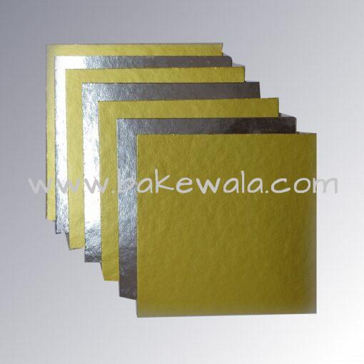 "Cake Base - Square - Dual tone - Gold & Silver - 8.75"""